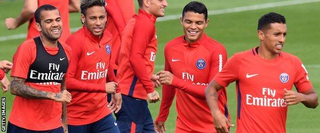 Dani Alves, Neymar, Thiago Silva and Marquinhos