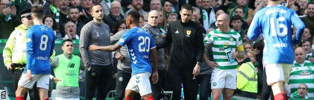 Alfredo Morelos was red-carded after striking Celtic captain Scott Brown off the ball