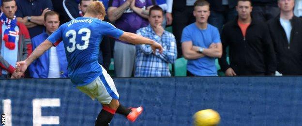 Martyn Waghorn scores for Rangers against Hibernian