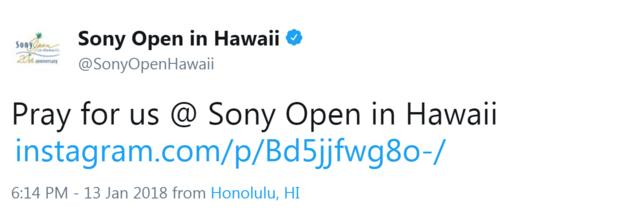 Sony Open in Hawaii tweet reading: Pray for us