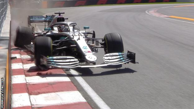 Lewis Hamilton hits the wall during second practice