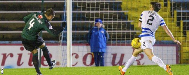 Raith Rovers' Ross Callachan's shot takes a deflection on its way to goal