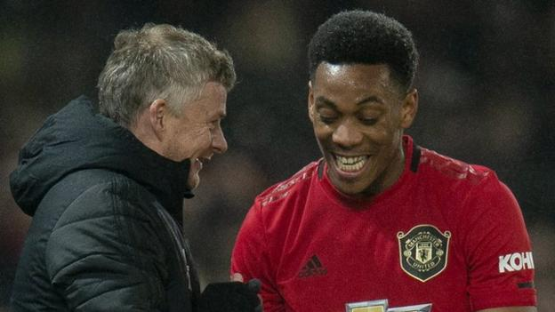Anthony Martial (right) with Manchester United manager Ole Gunnar Solskjaer