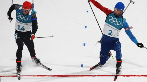 Winter Olympics: Martin Fourcade wins gold in biathlon photo finish