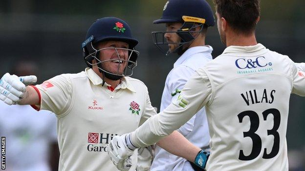 Lancashire celebrate beating Hampshire by one wicket