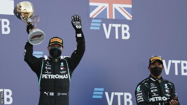 Valtteri Bottas and Lewis Hamilton on the podium in Russia