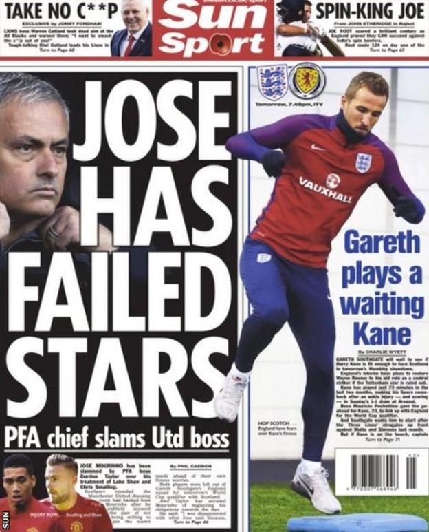 The Sun leads on Gordon Taylor's disappointment in Jose Mourinho's criticism of Manchester United's Chris Smalling and Luke Shaw