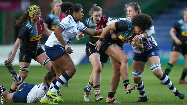 Shaunagh Brown of Harlequins Women in action against Bristol Bears