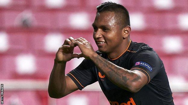 Alfredo Morelos celebrates scoring