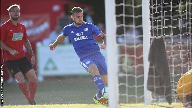 Joe Ralls of Cardiff City scores Cardiff's second goal