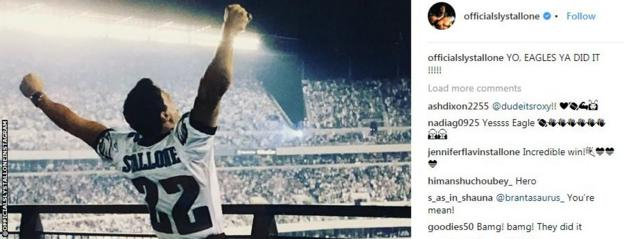 Slyvester Stallone shares a post on Instagram to congratulate the Eagles
