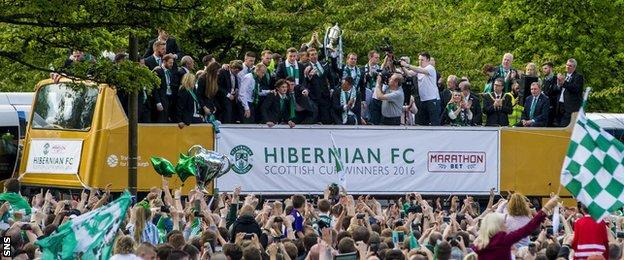 Hibernian players celebrate with the Scottish Cup in Edinburgh