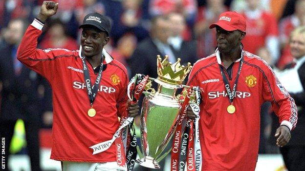 Andy Cole (rechts) mit Dwight Yorke (links)
