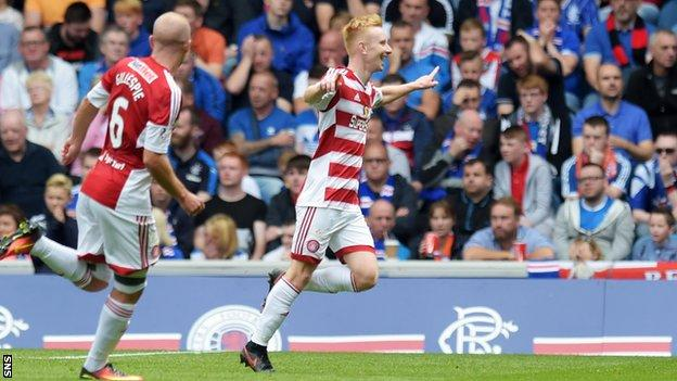 Ali Crawford scored for Hamilton against Rangers in their opening league game of the season