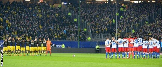 There was a minute's silence before kick-off