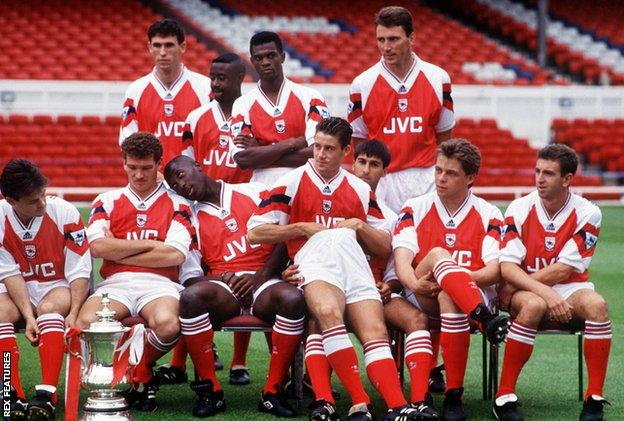 The Arsenal team - including Jimmy Carter - pose for a photo in August 1993