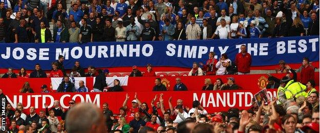 Chelsea and Manchester United fans at Old Trafford