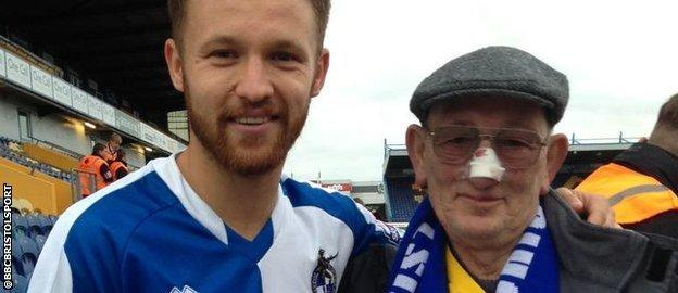 Rovers fan Ron and striker Matty Taylor