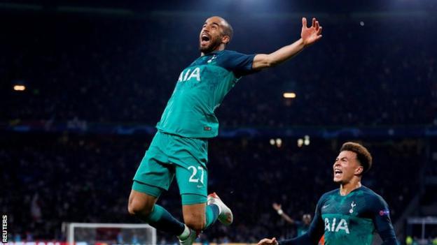 Tottenham striker Lucas Moura celebrates his winning goal for Tottenham against Ajax in the Champions League semi-final