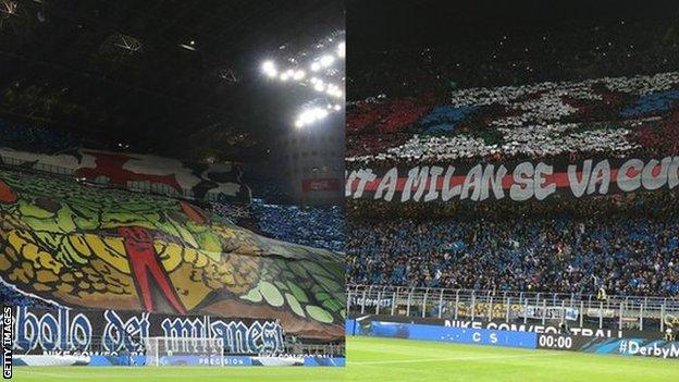 Fans of Inter Milan and AC Milan at the San Siro
