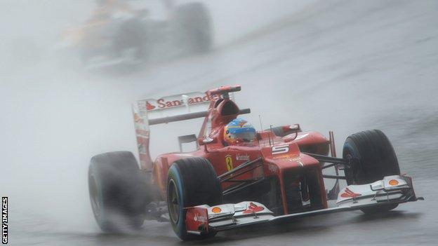Fernando Alonso in the rain during qualifying for the German Grand Prix in 2010