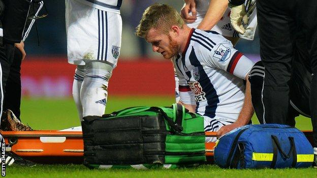 West Brom's Chris Brunt is put on a stretcher after being injured in Saturday's game against Crystal Palace