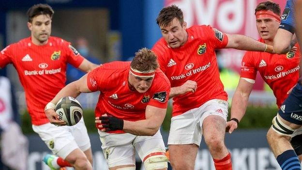 Gavin Coombes in possession for Munster in the Pro14 final at the RDS