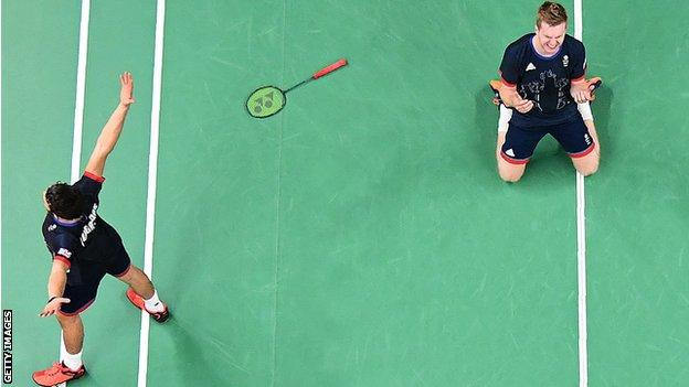 Photo taken by a robot of Olympic badminton competition