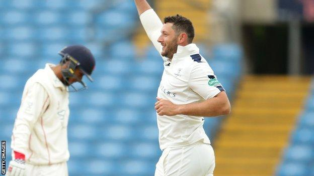 Yorkshire's former England paceman Tim Bresnan celebrates after sending Haseeb Hameed back to the pavilion at Headingley
