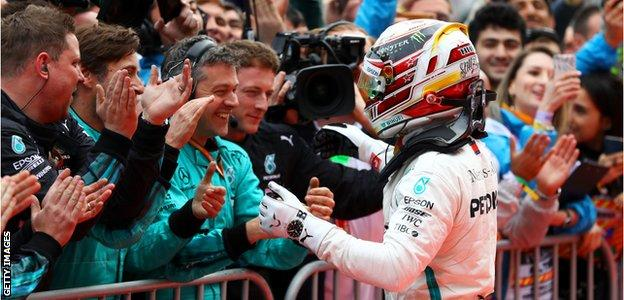 Mercedes F1 driver Lewis Hamilton wins the 2018 Azerbaijan Grand Prix