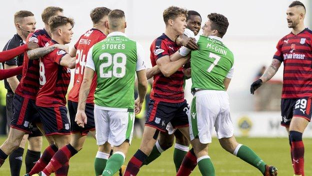 Hibs and Dundee players clash