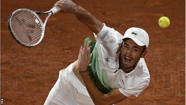 Daniil Medvedev serves against Marton Fucsovics at the French Open