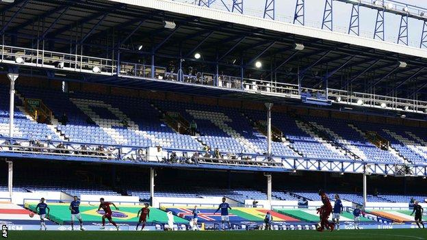 The Merseyside derby at Goodison Park would normally have attracted a sell-out crowd of around 40,000 fans