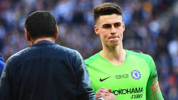876df0e9c Kepa Arrizabalaga  Chelsea goalkeeper fined   apologises for Wembley  incident - BBC Sport