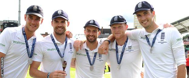 Stuart Broad with team-mates in 2015 Ashes