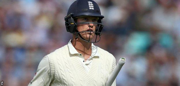 Keaton Jennings walks off after being dismissed