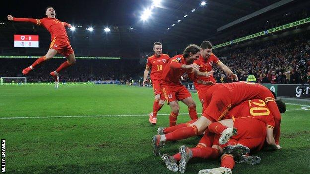 Connor Roberts (left) joins celebrations during Wales' win over Hungary in November 2019 which booked their place at Euro 2020