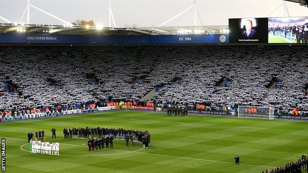 The King Power Stadium before Leicester's first home game since Vichai Srivaddhanaprabha's death