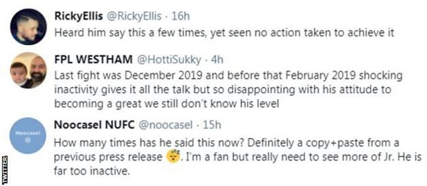 """Boxing fans on Twitter react to Chris Eubank Jr signing with new promoter, with one fan saying """"he is far too inactive."""
