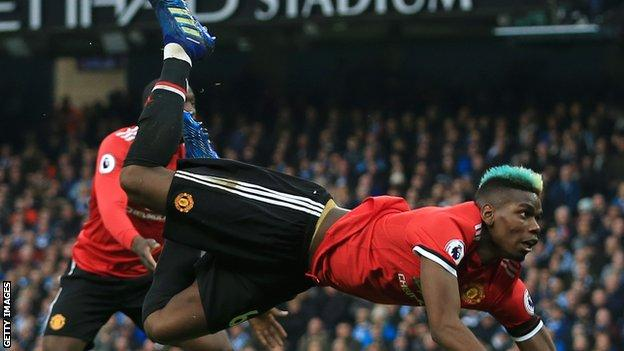 Paul Pogba scored Manchester United's second goal in their fight back against Manchester City in April this year