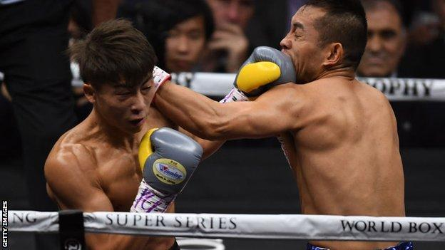 Naoya Inoue lands a punch on Nonito Donaire