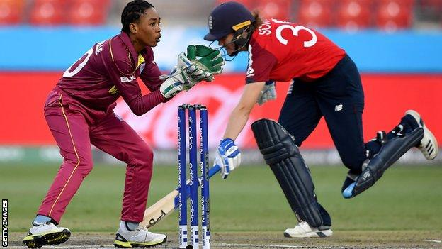West Indies' Shemaine Campbelle catches the ball as England's Nat Sciver runs towards the wickets