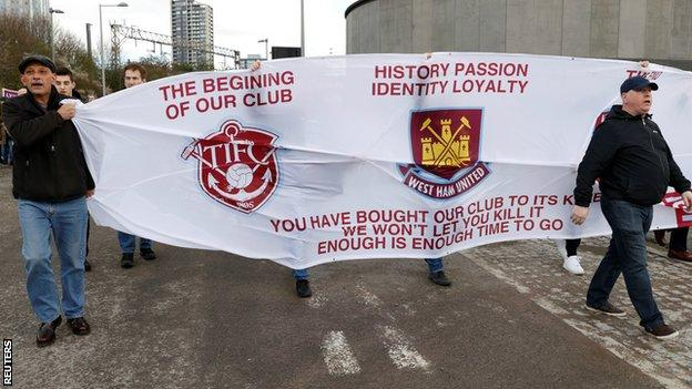West Ham fans protest against their owners