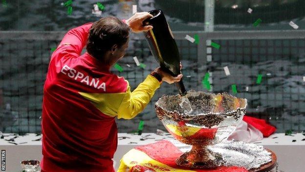 Rafael Nadal pours champagne