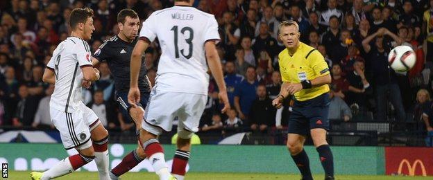 James McArthur scores for Scotland against Germany