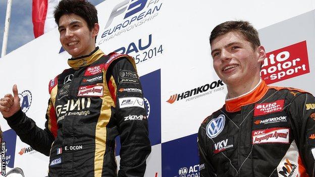 Esteban Ocon and Max Verstappen in 2014