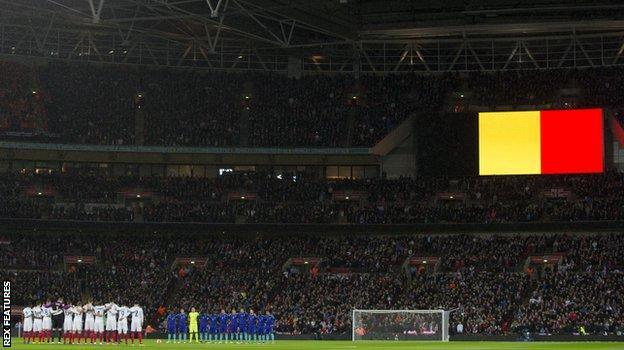 The Belgian flag is displayed before England v Netherlands at Wembley