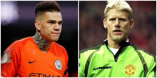 Ederson of Man City and Peter Schmeichel of Manchester United
