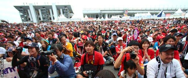 Fans at the Japanese grand prix