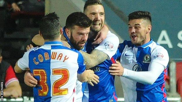 Grant Hanley celebrates getting Blackburn's opener